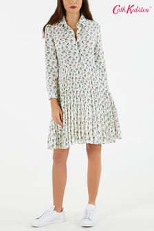 Cath Kidston® White Bathing Frogs Pleated Shirt Dress