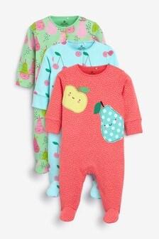 Set de 3 pijamale cu model fructe (0 luni - 2 ani)