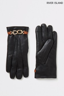 Czarne rękawiczki skórzane z efketem metalu River Island Boxed