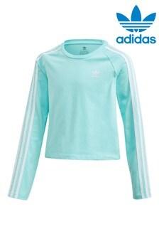 Укороченная футболка цвета морской волны с длинными рукавами adidas Originals