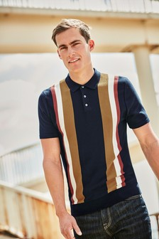 Stripe Cotton Short Sleeve Polo