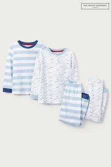 The Little White Company White/Blue Fish Aop & Stripe Pyjamas 2 Pack