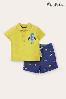 Boden Navy Pique Polo Short Set