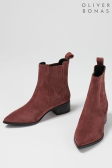 Oliver Bonas Suede Pink Chelsea Boots