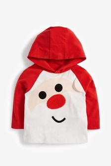 Long Sleeve Santa Hoody Jersey T-Shirt (3mths-7yrs)