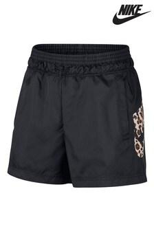 Shorts in tessuto nero con logo Nike