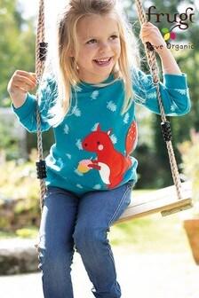 Frugi GOTS Organic Cosy Sweatshirt - Teal and Squirrel