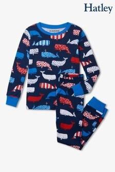 Синяя детская пижама с китами Hatley
