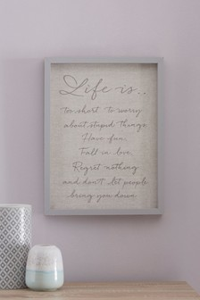 Life Is Embroidered Framed Art