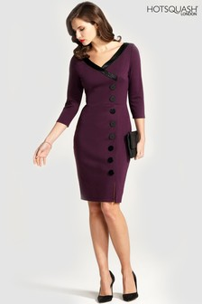 HotSquash 50s Silky Trimmed Button Wiggle Dress