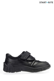 Start-Rite Luke Black Leather Primary Boys School Velcro Shoes