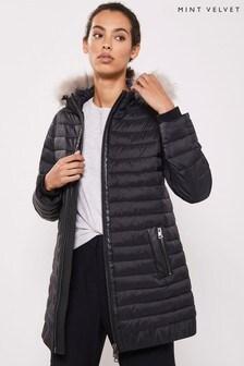 Mint Velvet Black PU Mix Padded Parka Coat