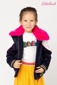 Billieblush Navy Cat Sequin Faux Fur Jacket