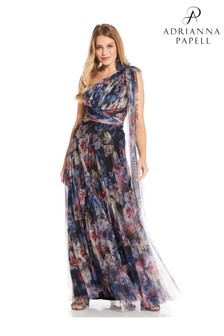 Adrianna Papell Blue Shirred Printed Tulle Gown