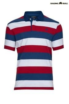 Raging Bull レッド オックスフォードカラー半袖ラグビーシャツ