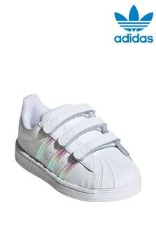Белые кроссовки для малышей с блестящей отделкой adidas Originals Superstar