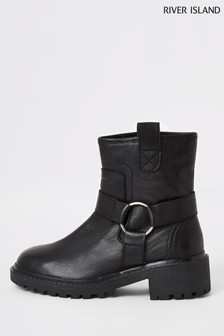 Bottines de motard River Island en cuir noir