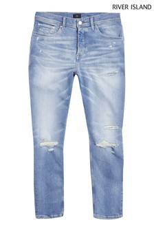 River Island Blue Light Taper Tampa Rip Jeans