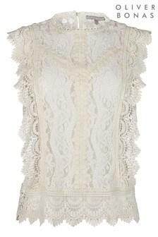 חולצה לבנה שלOliver Bonas ללא שרוולים עם מלמלת תחרה