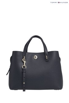 Sac à main style cartable M Tommy Hilfiger Charming bleu