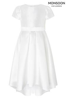 Monsoon ホワイト Henrietta パール飾り付きワンピース