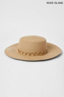 River Island米色 Paulette 寬闊邊紳士帽