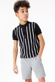 Трикотажная рубашка поло с вертикальной полоской (3-16 лет)