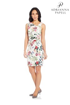Adrianna Papell White Parisian Garden Draped Sheath Dress