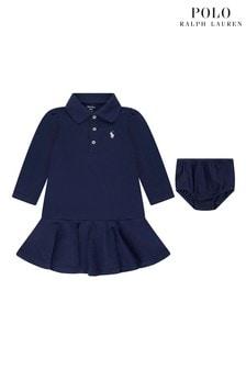 فستان بولوأزرق داكن بشعار منRalph Lauren