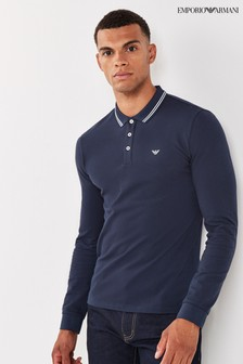 Emporio Armani Long Sleeve Tipped Poloshirt