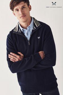 Crew Clothing Company ブルー クラシック 1/2 ジップセーター