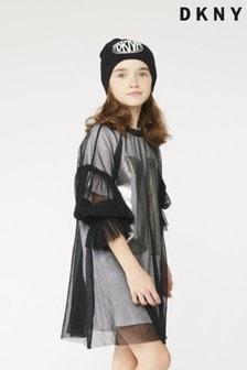 فستان تي شيرت شعار شبكي أسود/أبيض من DKNY