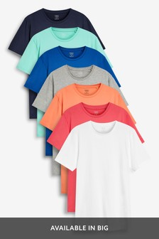 Regular Fit T-Shirts mit Rundhalsausschnitt, 7er-Pack