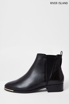 River Island Black Metal Toe Leather Chelsea Boots