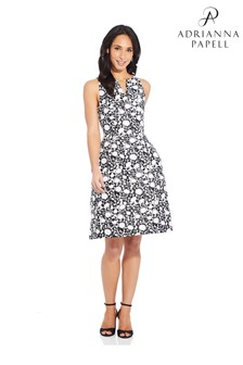 Adrianna Papell Black Floral Jacquard Fit And Flare Dress