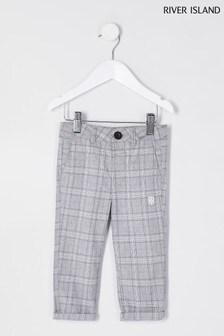 Pantalon River Island gris clair habillé à carreaux