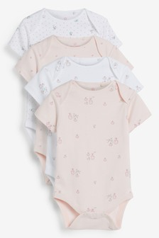 4 Pack GOTS Organic Delicate Bunny Short Sleeved Bodysuits (0mths-3yrs)