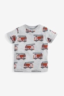 Tričko s krátkymi rukávmi a požiarnickým autom (3 mes. – 7 rok.)