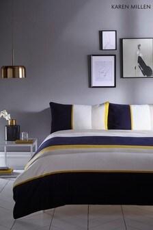Karen Millen Colourblock Stripe Cotton Duvet Cover and Pillowcase Set