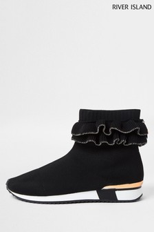 River Island Black Ruffle Knit Sock High Top Boots