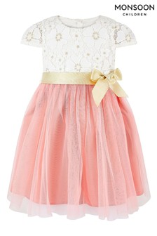 Monsoon Cream Baby Freya Daisy Lace Dress