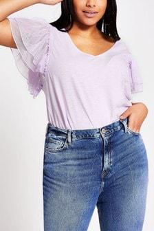 River Island Purple Light Mesh Frill Sleeve Slub T-Shirt