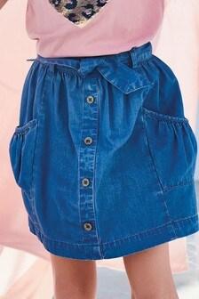 חצאית ג׳ינס עם סרט חגורה (גילאי 3 עד 16)
