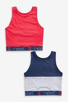 Next 1982 Cotton Logo High Neck Crop Bras 2 Pack