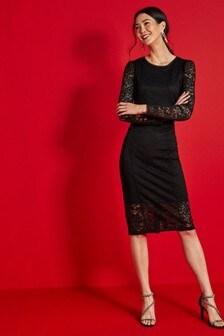 Кружевное облегающее платье