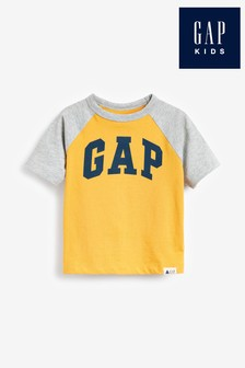 Žlté tričko s logom a grafikou Gap