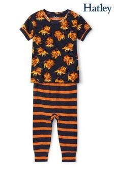 Pijamale Hatley Little Cubs albastre din bumbac organic cu mânecă scurtă
