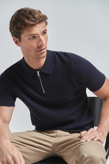 Textured Cotton Zip Polo