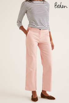 Boden Pink Daisy Cropped Chino Trousers