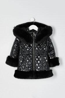 River Island Black High Shine Faux Fur Hem Padded Jacket